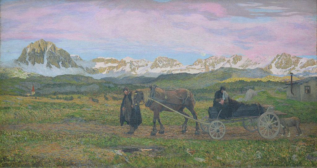 The first Biennale major Prize were given to Giovanni Segantini for his Return to Native Village.    Giovanni Segantini    (1858–1899) won    Title:  Returning Home,   ( Ritorno al paese natio)   Date: 1895 - Courtesy of  Alte Nationalgalerie