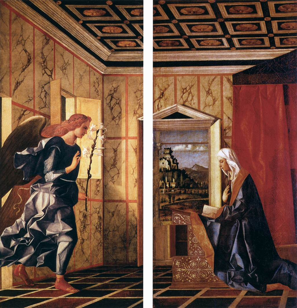 Angel of the Annunciation and Virgin Annunciate by GIOVANNI BELLINI , circa 1500   Gallerie dell'Accademia  Collection