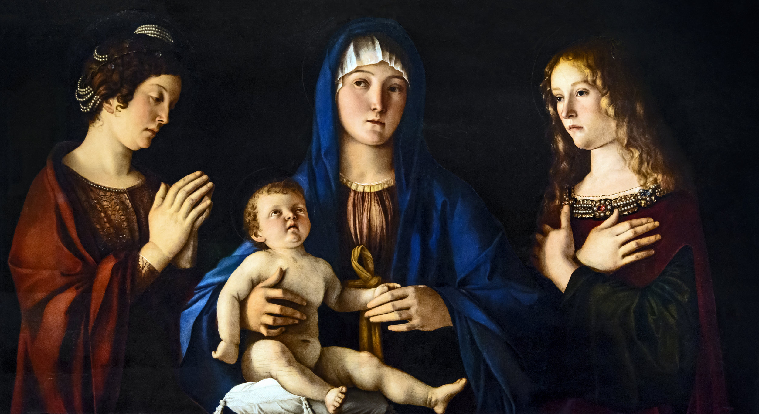Madonna and Child with Saint Catherine of Alexandria and Mary Magdalene by GIOVANNI BELLIN I, circa 1490   Gallerie dell'Accademia  Collection