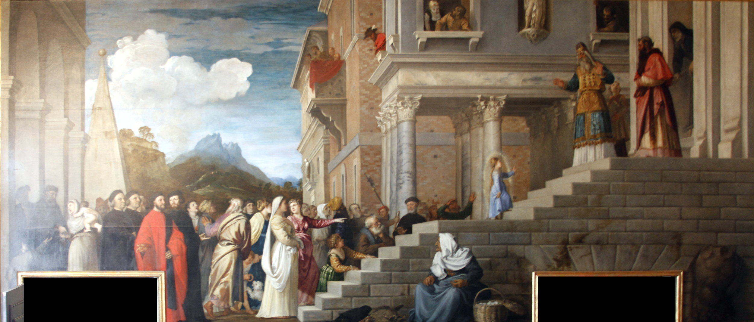 The Presentation of the Virgin at the Temple by  TITIAN    circa 1534–1538. The painting depicts the three year-old Virgin Mary entering the Temple of Jerusalem.   Gallerie dell'Accademia  Collection