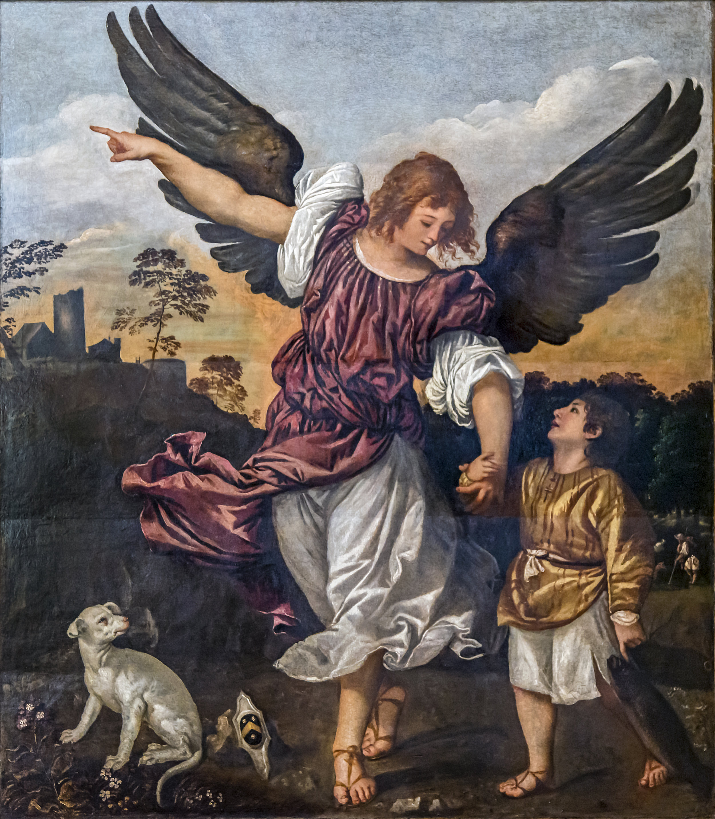 Archangel Raphael and Tobit by TITIAN    Date  1542,  Gallerie dell'Accademia  Collection
