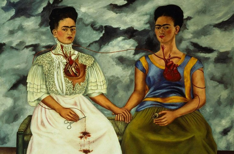 "Frida Kahlo's 1939 oil painting ""The Two Fridas."" Credit All Rights Reserved 2016 Banco de México Diego Rivera Frida Kahlo Museums Trust, Mexico, D.F./Artists Rights Society (ARS), New York"