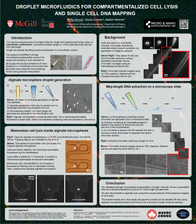 28. P. Zimny, W. Reisner, D. Juncker.  Droplet Microfluidics for Compartmentalized Cell Lysis and Single Cell DNA Mapping.  MSB 2016 Niagara-on-the-Lake. April 3-7, 2016