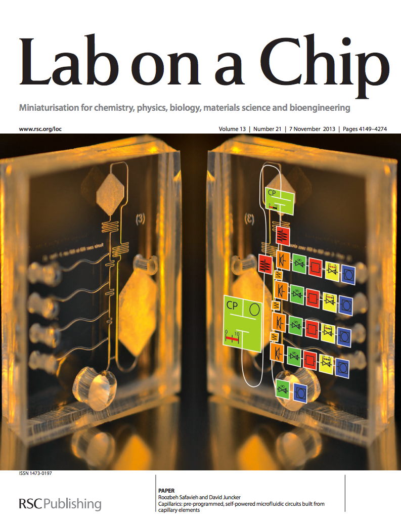 """38.  Safavieh R., and Juncker D.,  Capillarics: Pre-Programmed, Self-Powered Circuits Built from Microfluidic Capillary Elements  ,Lab on a Chip,13, 4180-4189 (2013).    PDF      Highlighted as a Lab on a Chip """"Hot Article""""      Featured on the inside front cover of Lab on a Chip, 13 (2013)."""