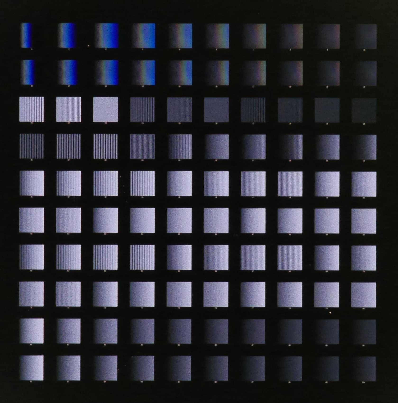 An array of 100 'digital nanodot gradients' for cell migration and axon guidance studies.