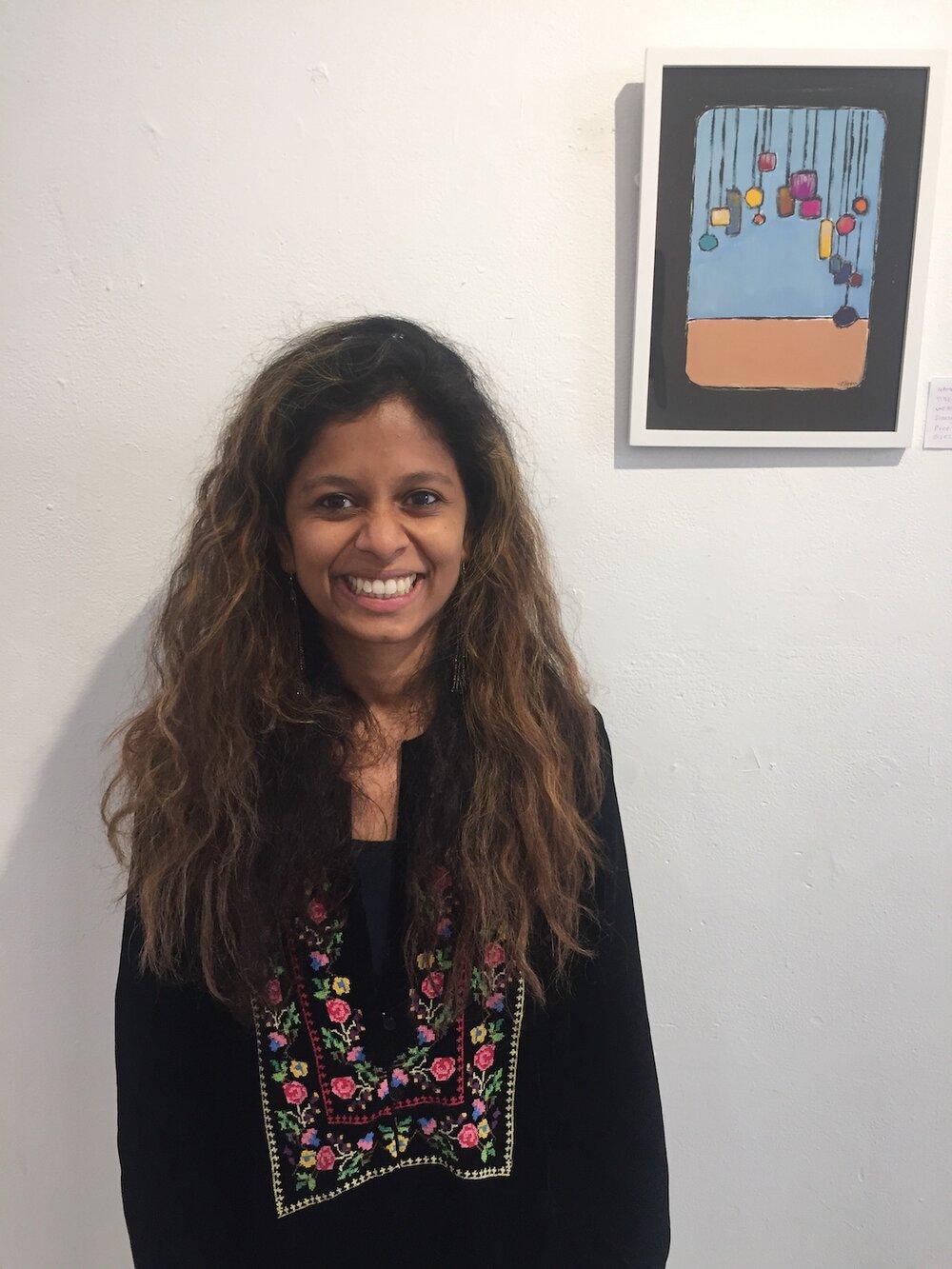 Y.R.Egon, Ruchira Amare with her work, NYC, 2019