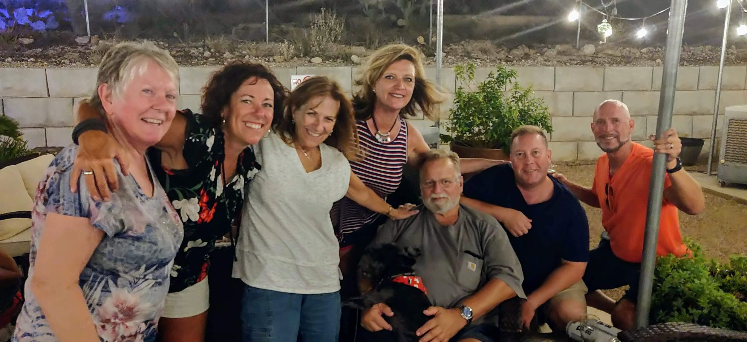 """Me and a few of my peeps at """"Three Canyon's Beer and Wine Garden"""" in the Catalina Foothills. (I'm the good looking guy in the orange shirt)."""