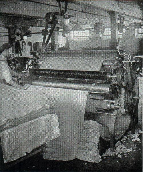 Shearing machine at vintage woolen mill.