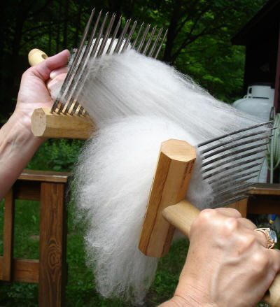 Wool being combed.