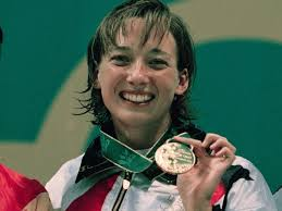 Amy Van Dyken in the 1996 Olympics winning her Fourth Gold Medal
