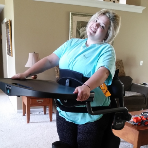 As a young woman, Jamie needed to stand to help with bone health, bladder health and circulation. Amy's Army knew just the solution, a standing frame. Jamie started standing every day, and she saw her health improve by leaps and bounds.