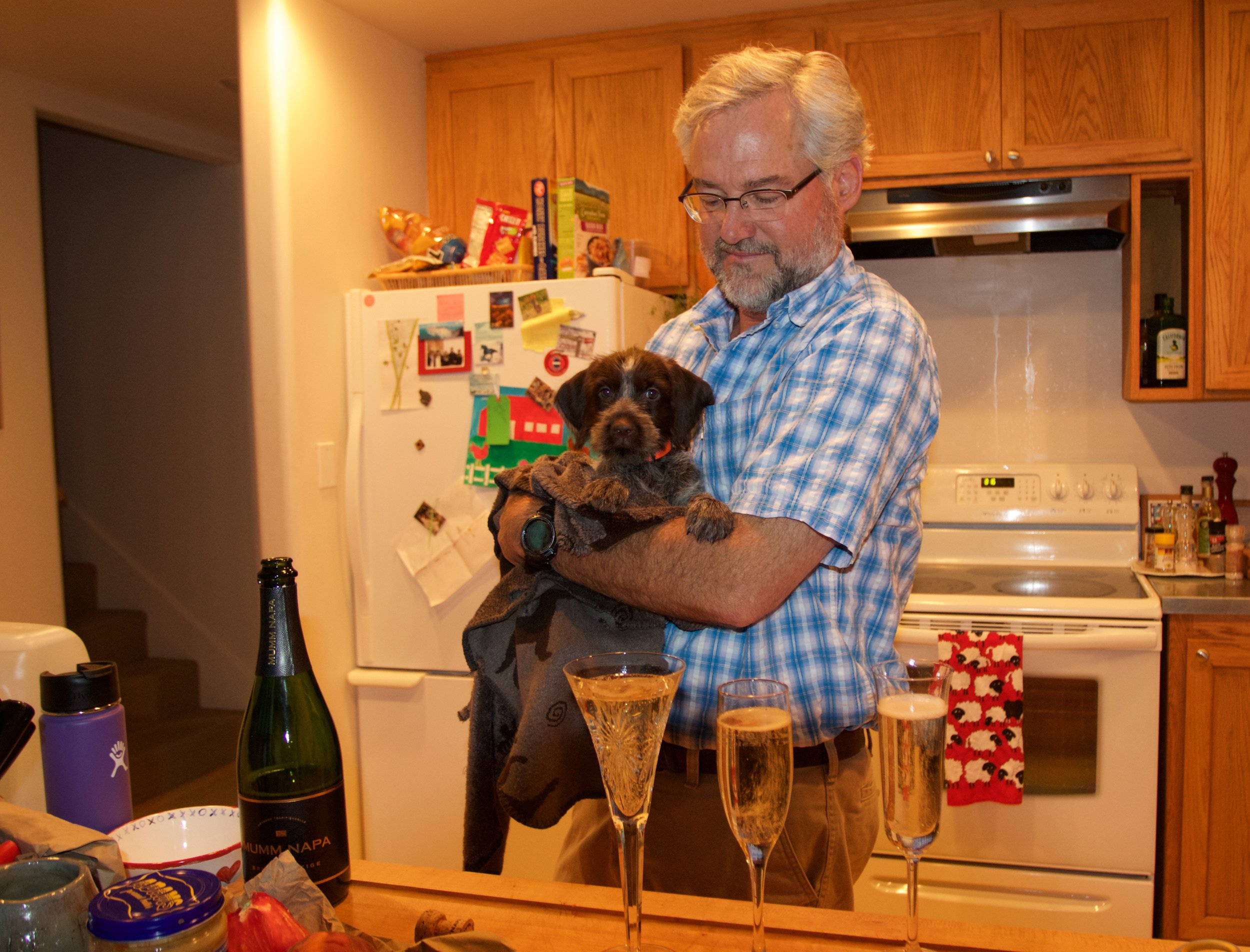 My dad very sweetly brought home a bottle of champagne to celebrate Sally's arrival!