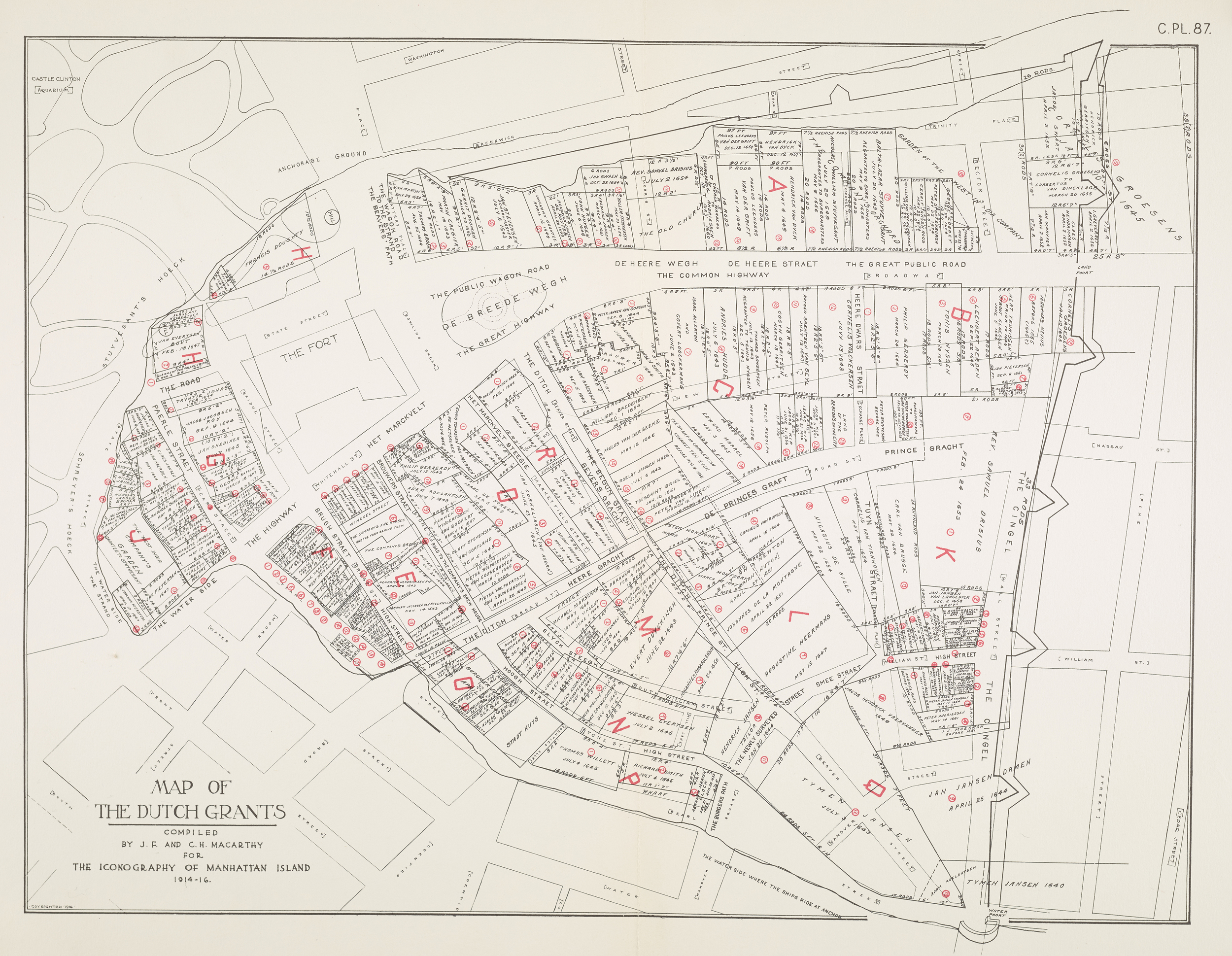 Map of the Dutch Grants, compiled by J.F. and C.H. Macarthy for the Iconography of Manhattan Island, 1914-1916.