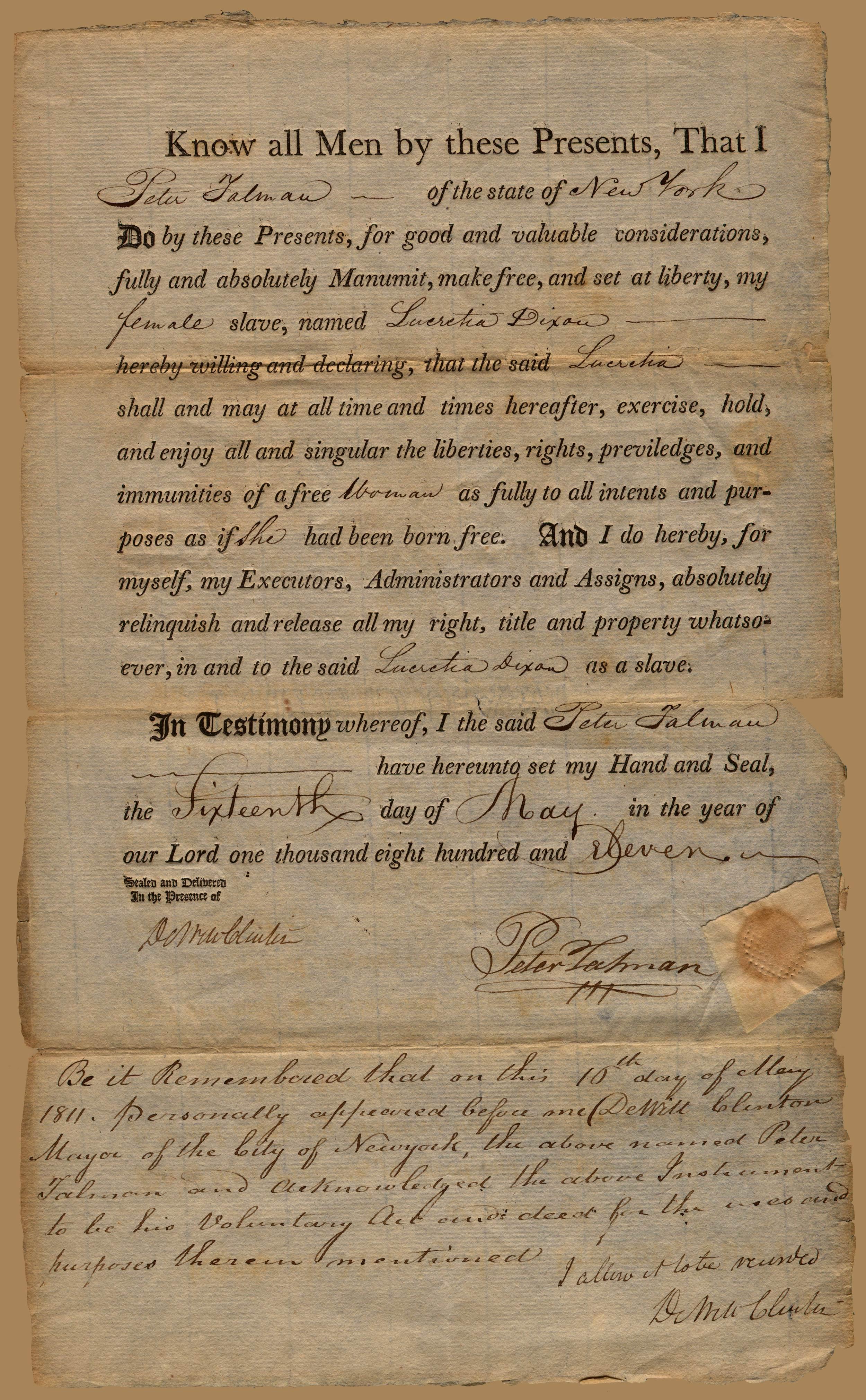 Manumission document of Peter Talman freeing Lecretia Dixon