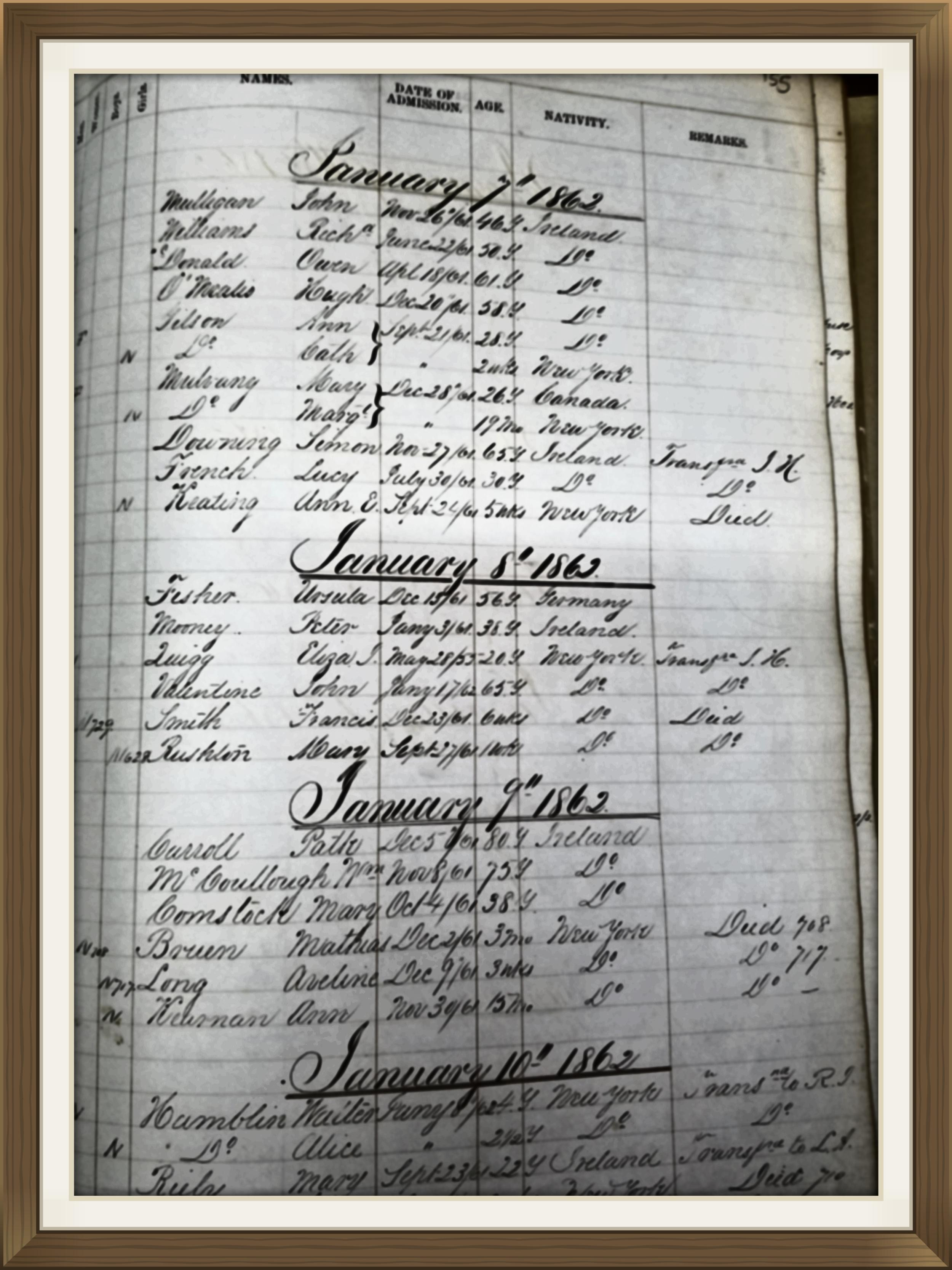 1862 Almshouse Discharge Ledger