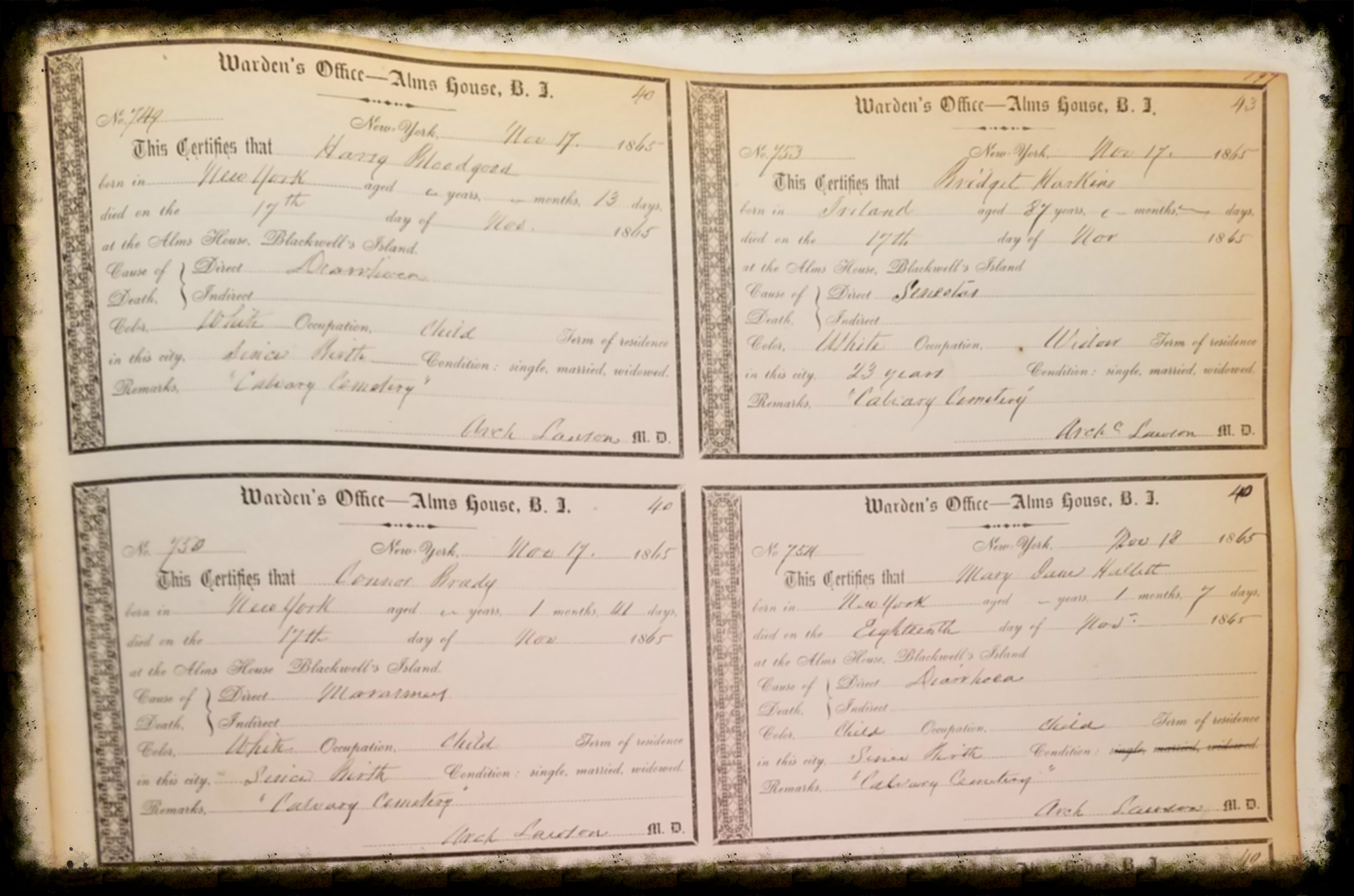 1864-1873 Certificates of Death
