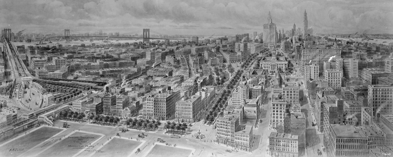 Proposed Boulevard from City Hall to Manhattan Bridge, ca. 1914