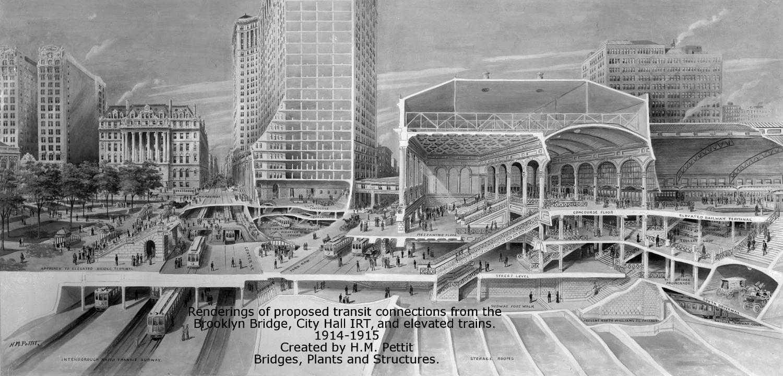 Proposed City Hall Transportation hub, ca. 1915