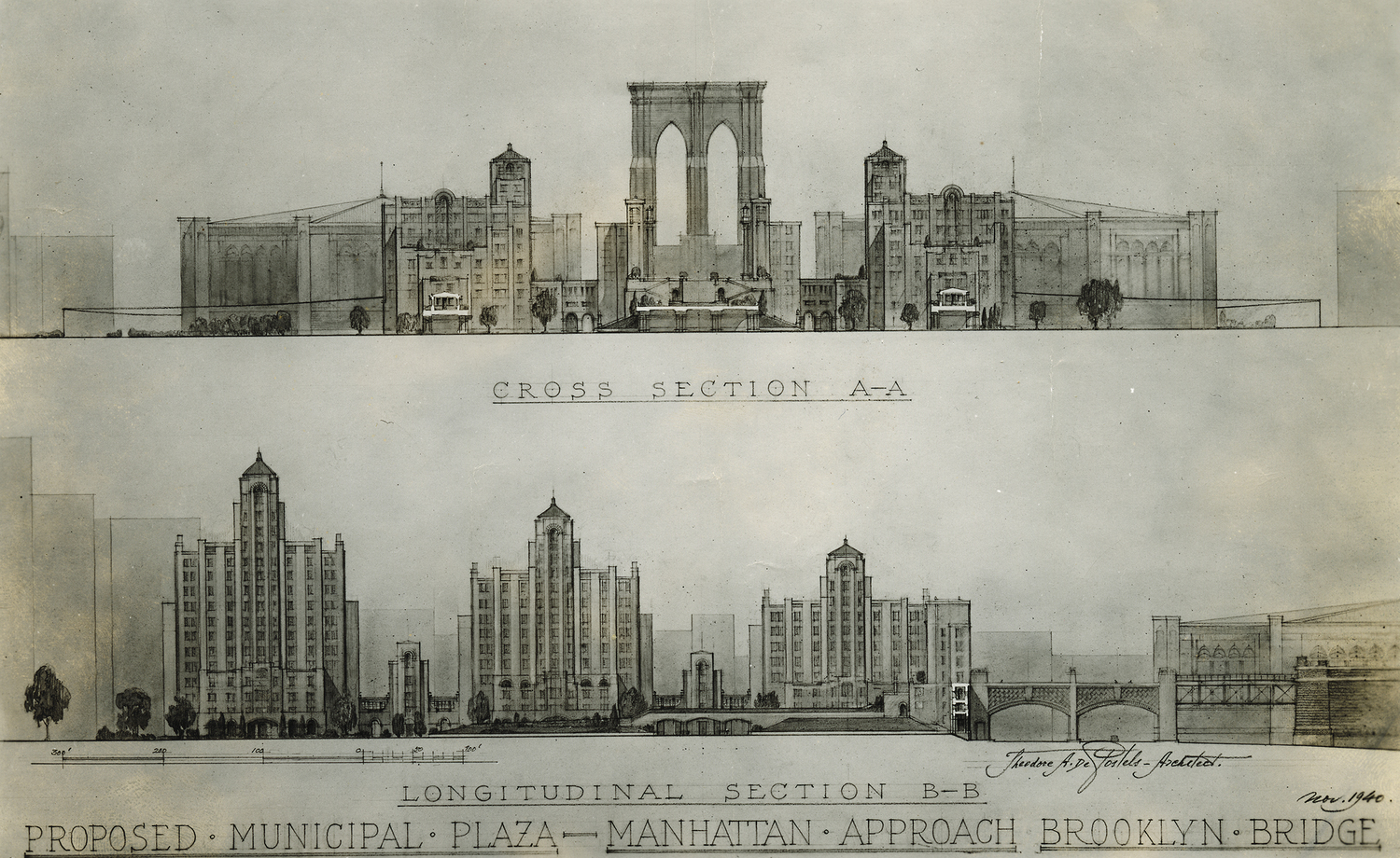 Cross section and Longitudinal section, Proposed Municipal Plaza - Manhattan Approach - Brooklyn Bridge, Theodore De Postels, 1940