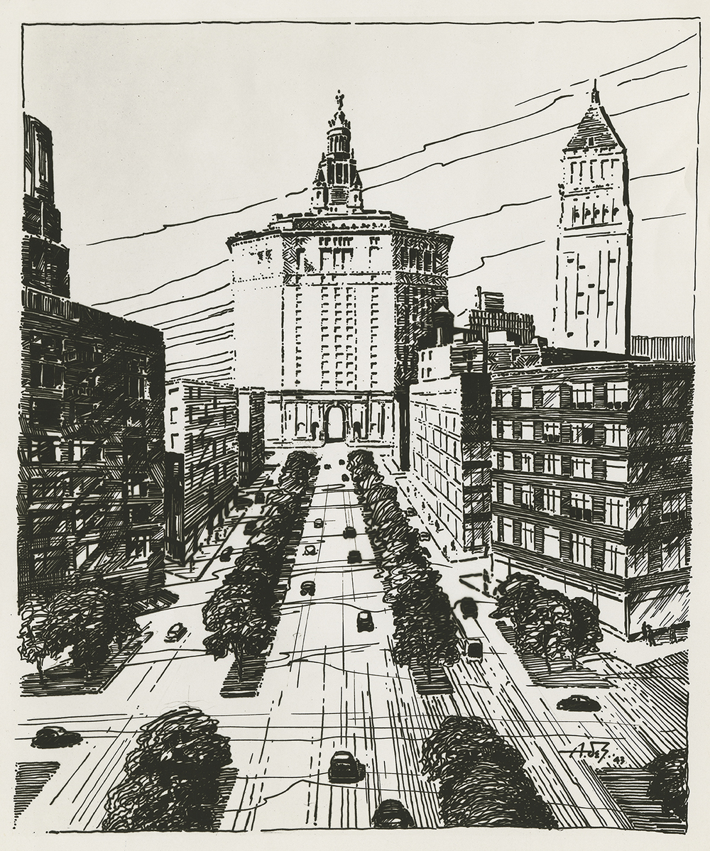 Sketch of Civic Center and proposed approach roads, 1943