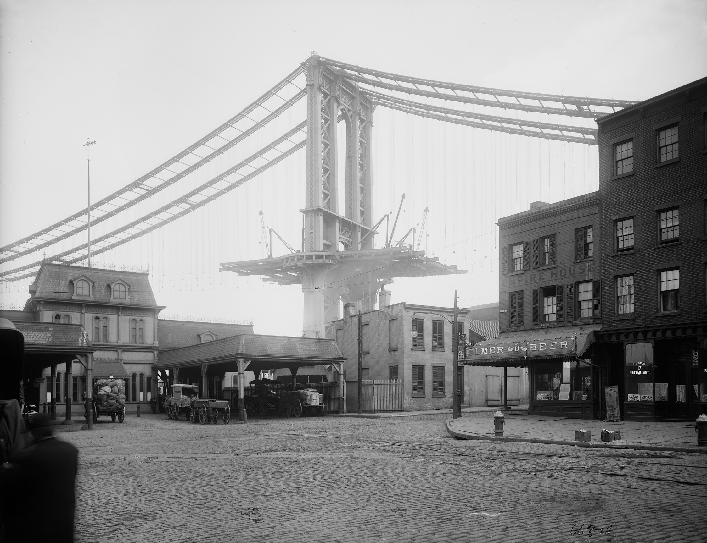 Manhattan Bridge, tower superstructure from Main Street, Brooklyn, Eugene de Salignac, March 11, 1909