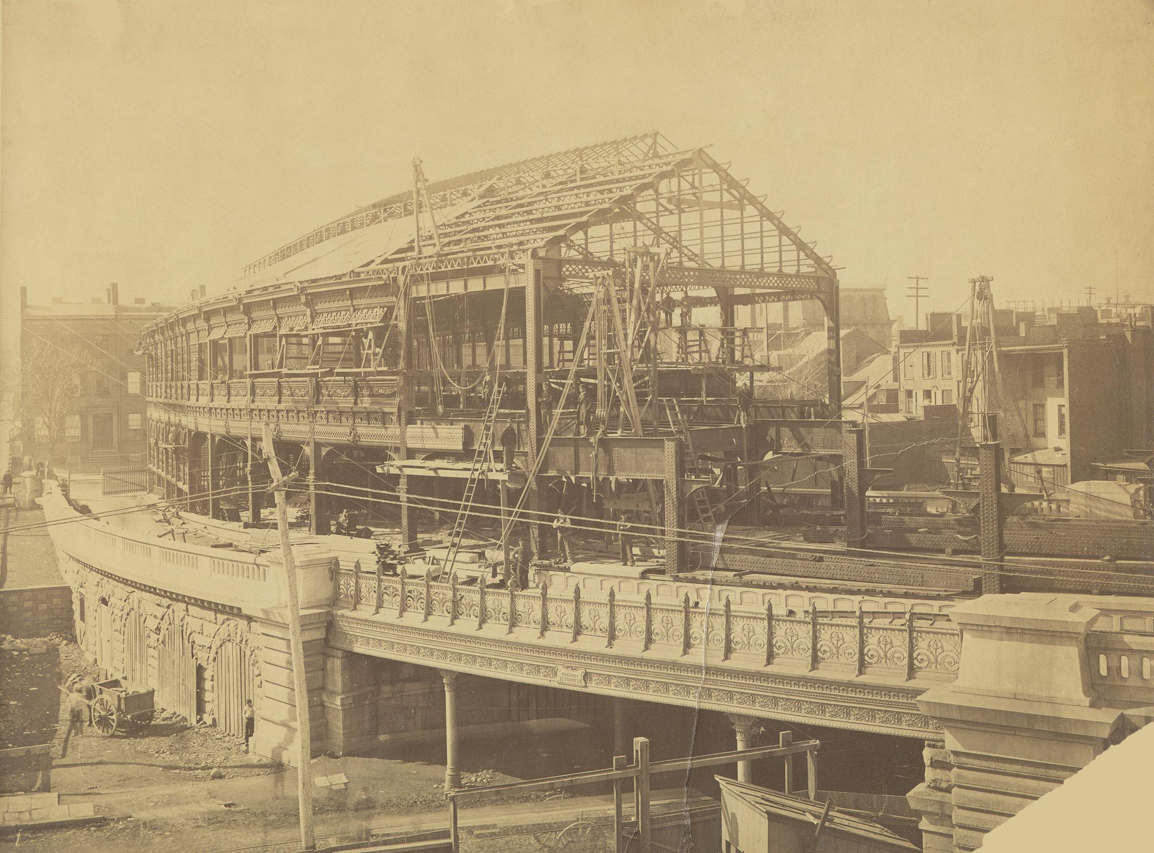 Construction of the Brooklyn Bridge trolley shed, Brooklyn, ca. 1882