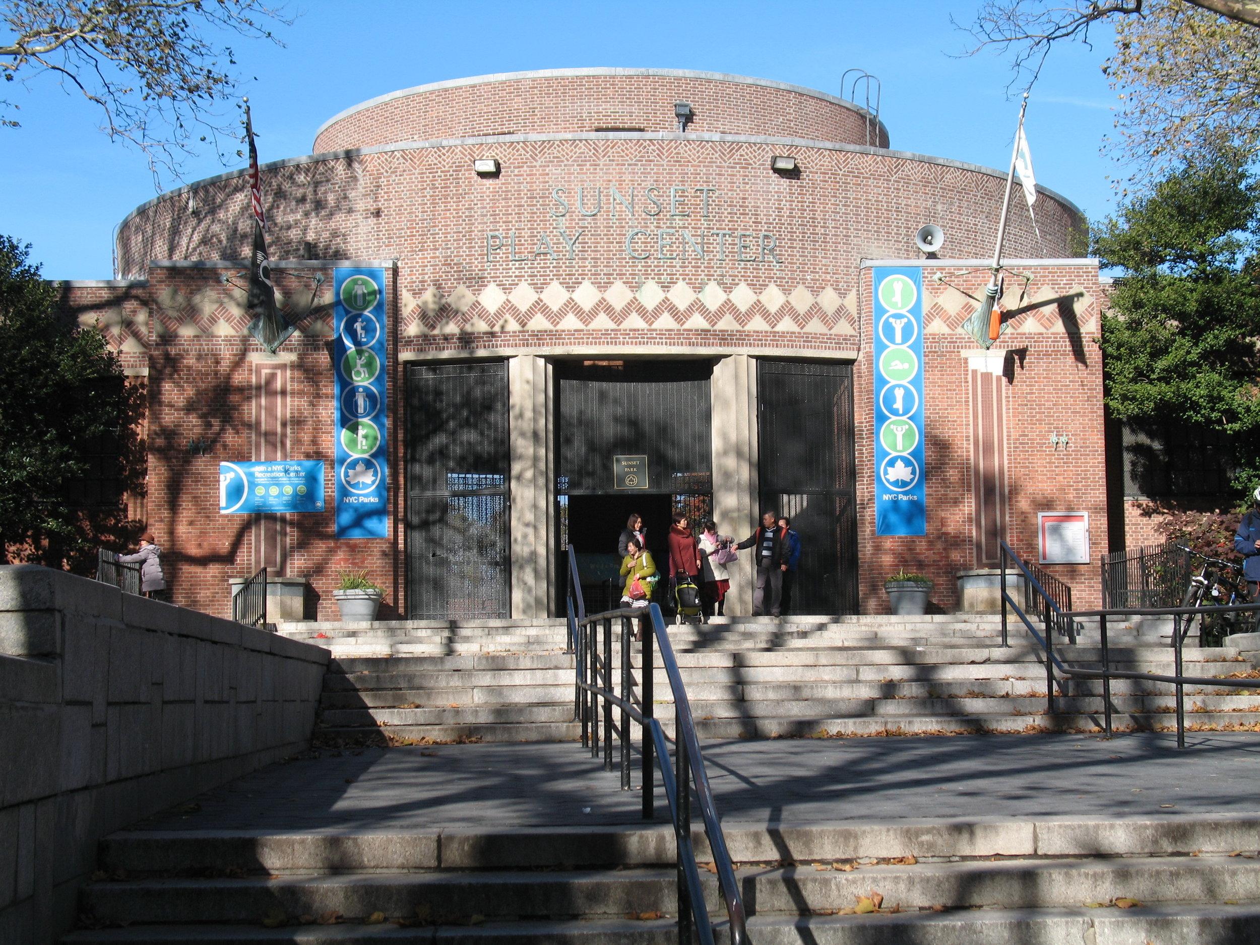 Sunset Play Center entrance, November 2016 . Photo: Marc Kirkeby.