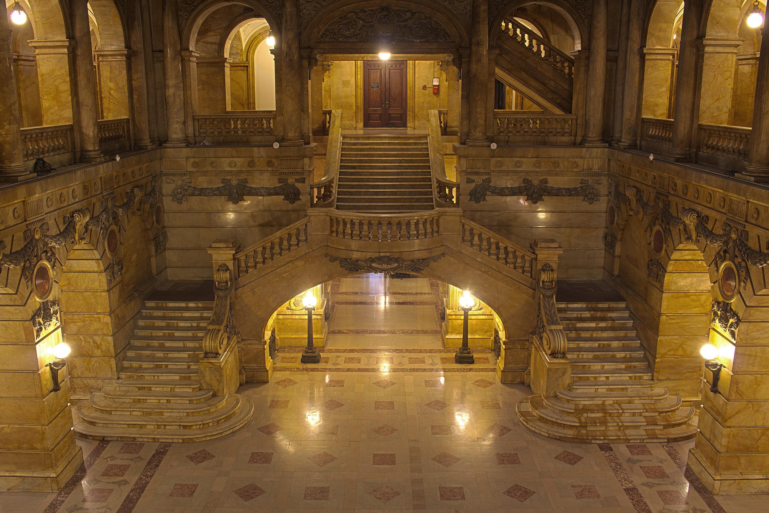 Lobby of 31 Chambers Street. NYC Municipal Archives.