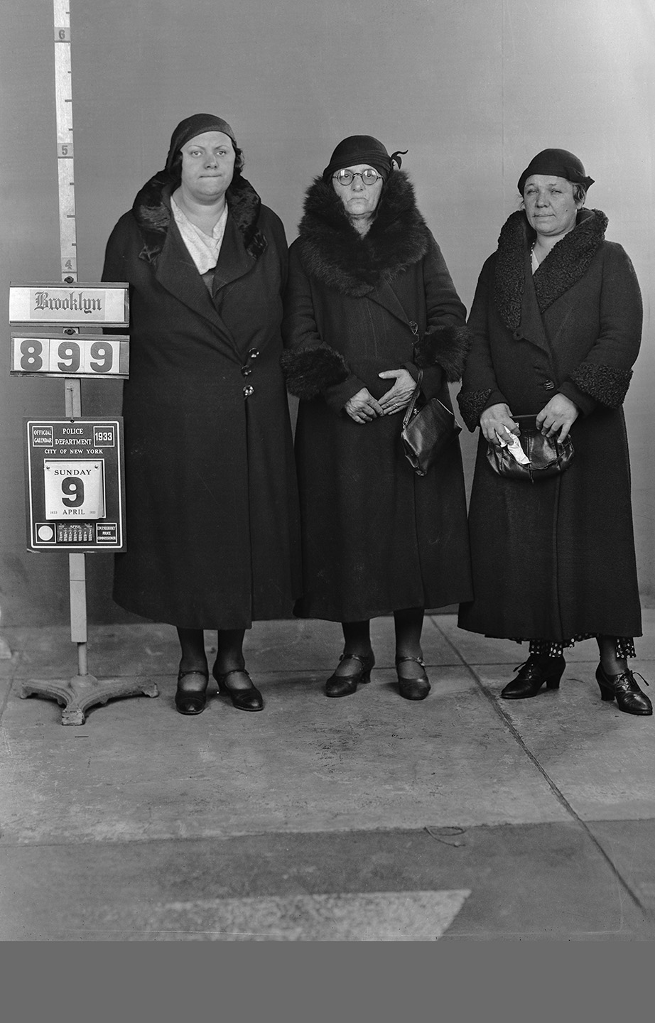 BKSU 899  Margie Goldberg, Sarah Klein, Anna Miller, April 9, 1933  Grand Larceny (shoplifting)  Det. Wright, 73 sq.