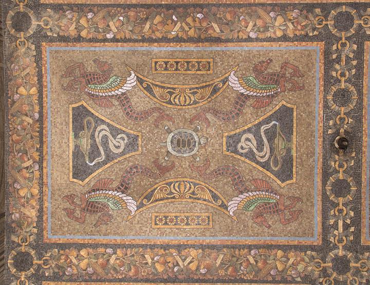 Decorative ceiling mosaic, vestibule,31 Chambers Street.  Photo: Matthew Minor.