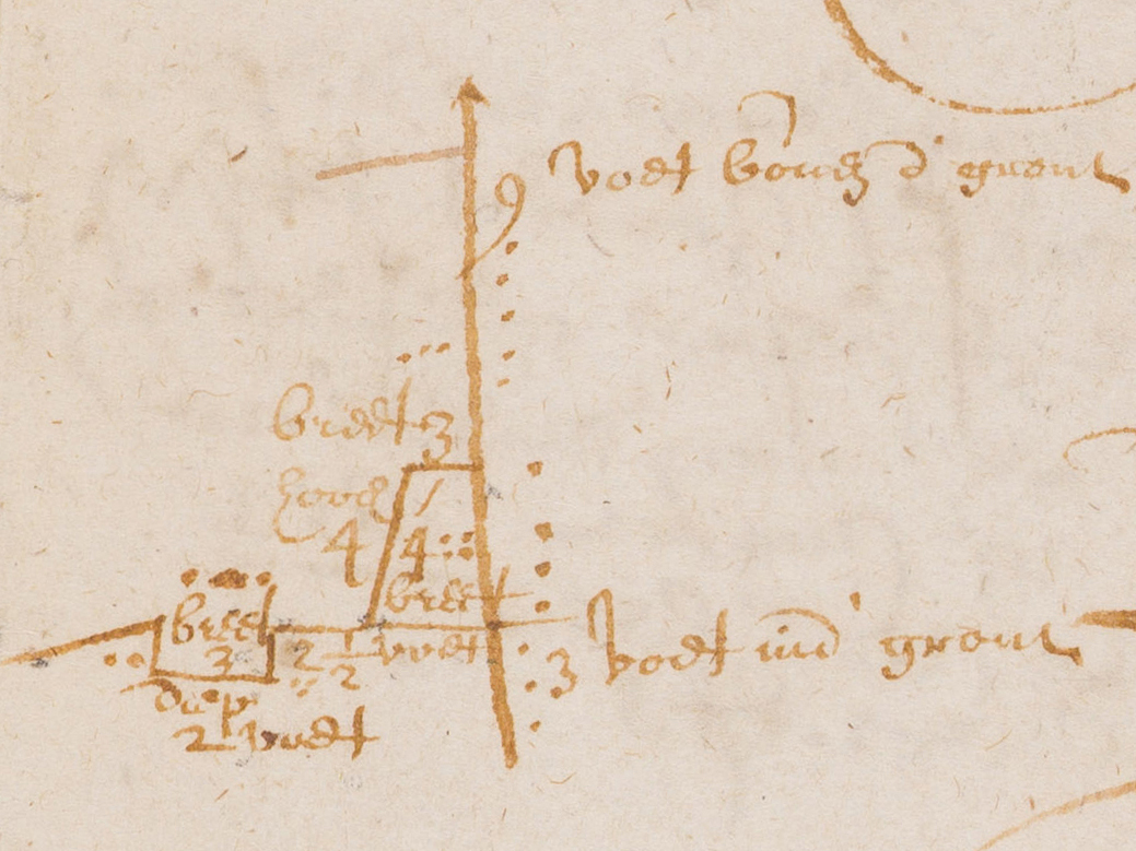 """Diagrammed cross-section of proposed wall from the Court Minutes of New Amsterdam, March 17, 1653. The exterior has an embankment and a ditch, and the line projecting from the top of the wall may be a  fraise ,small sharp sticks to impede scaling the wall. The Dutch reads: """"9 feet above ground, 3 feet in ground."""" One dot = one foot."""