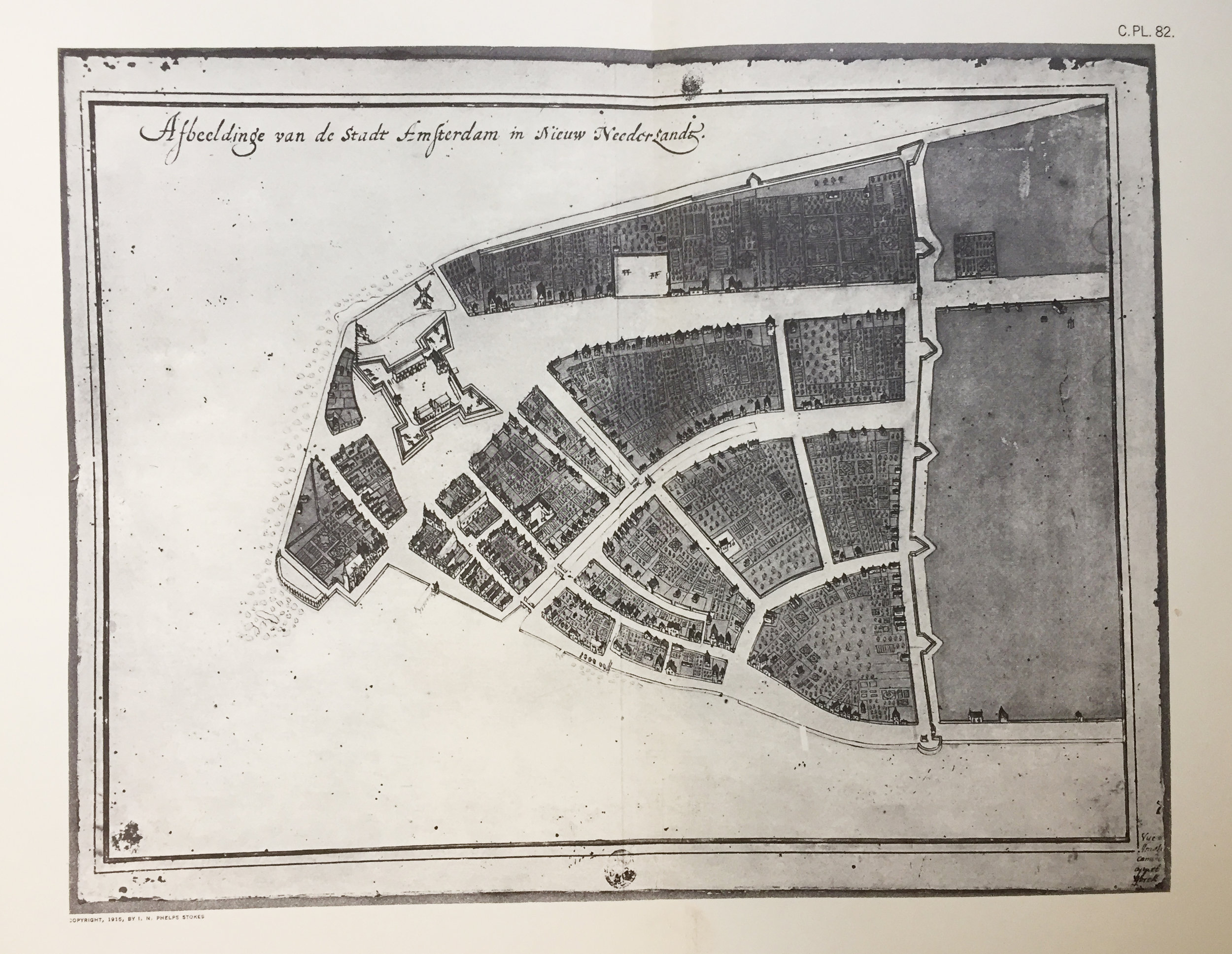 """""""The Castello Plan"""" of New Amsterdam shows the wall as it was circa 1660.Reproduced from the  Iconography of Manhattan Island , I.N. Phelps Stokes, 1915."""