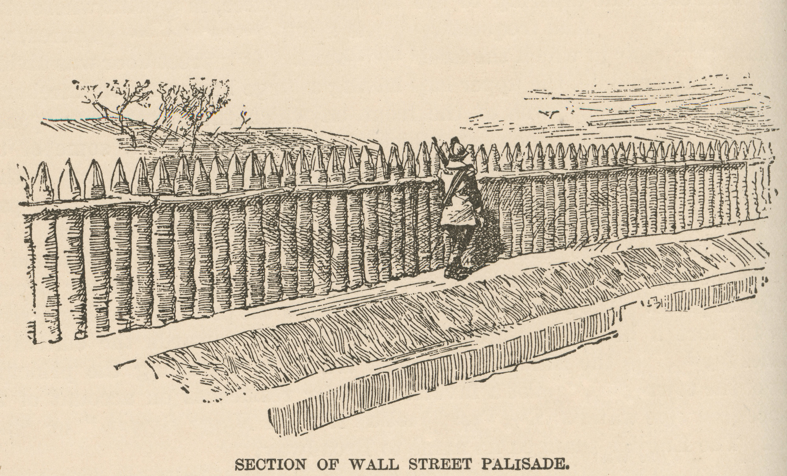 An illustration of the wall from the 1800s, about 200 years after it came down. From  Our Firemen: A History of the New York Fire Departments . Augustine E. Costello, 1887