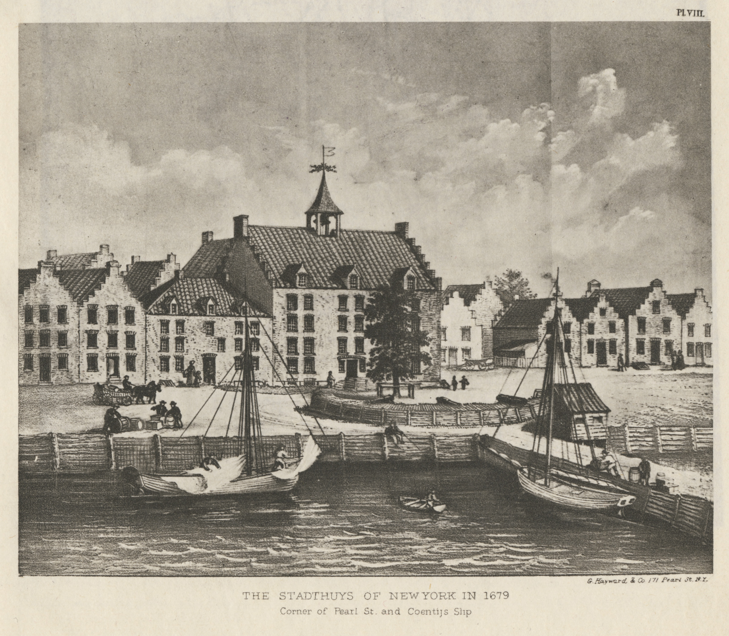 The plank  waal  in front of the Stadt Huys and the battery, in an early-20th-Century interpretation. Stokes,  Iconography of Manhattan Island .