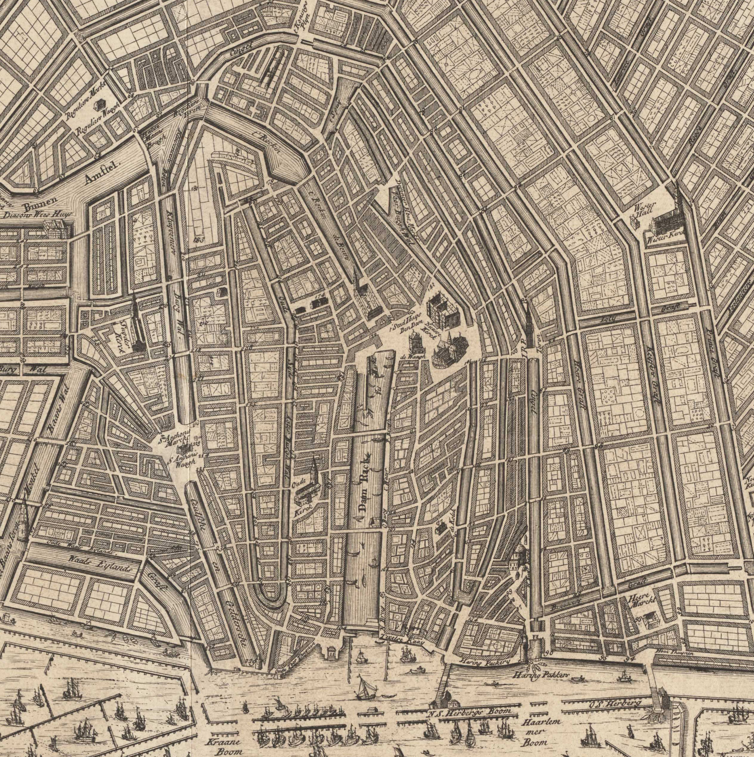 "A New Map of the City of Amsterdam , 1720 (detail). The  Cingel  is the canal (and the streets on either side) that begins at the ""Haring Pakkers"" by the waterfront, heads up to the tower, and then curves to the left before joining the Amstel River. It was the original defensive wall of Amsterdam. Map courtesy the  Stadsarchief Amsterdam ."