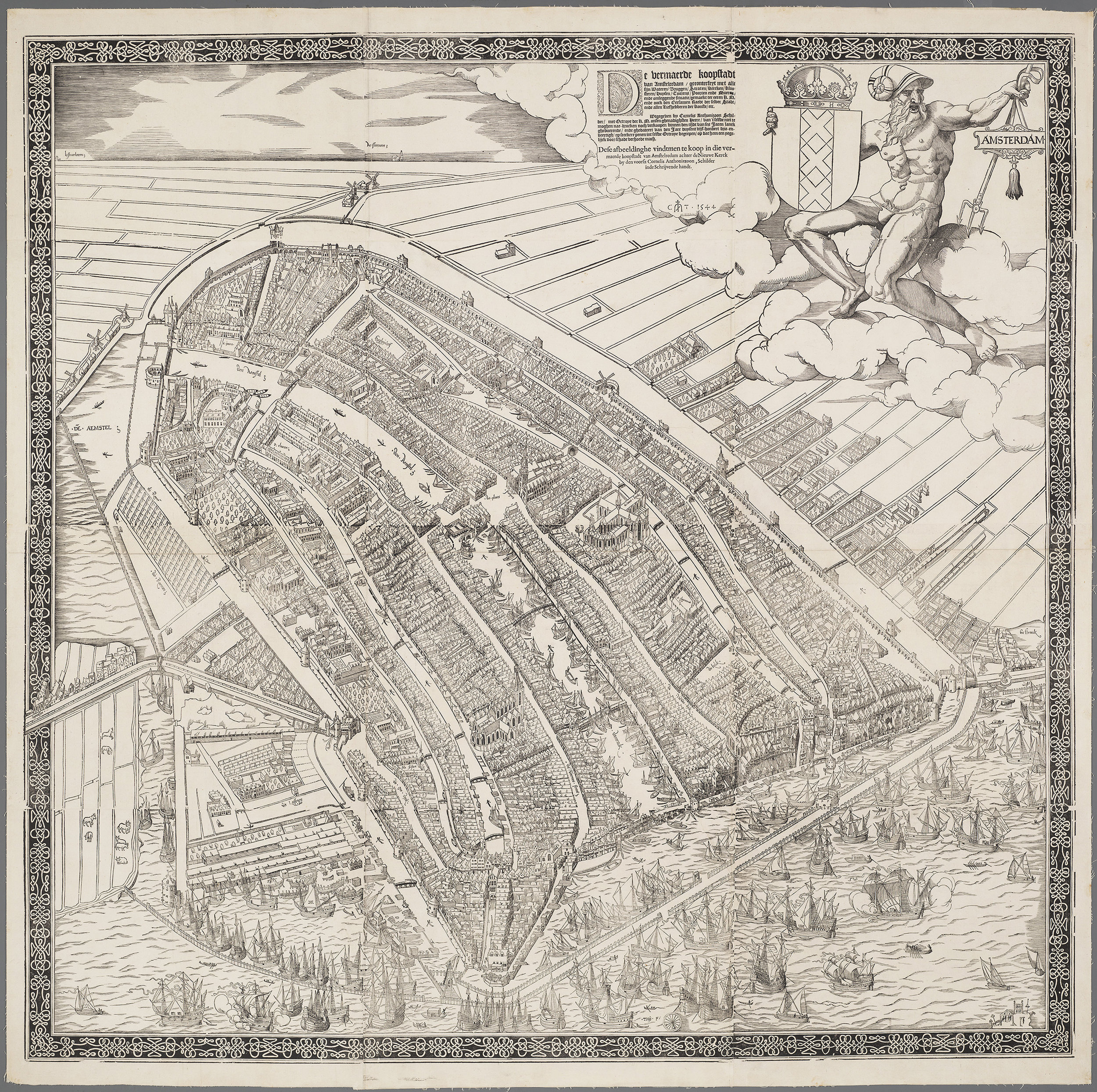 Amsterdam in 1544, the model for New Amsterdam. Note the  Cingel  (see last post) the canal and wall that were the original defenses of Amsterdam. Map courtesy the  Stadsarchief Amsterdam . Engraved and published by Cornelis Anthonisz.