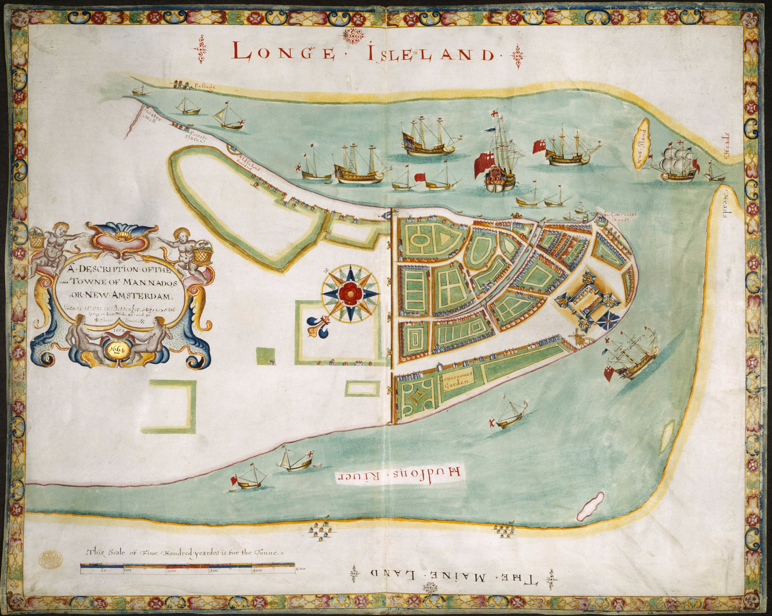 """This decorative map shows the English fleet sailing into New Amsterdam in 1664, and it was presented to James the Duke of York, perhaps to request his patronage and name. Known as The Duke's Plan, it was drawn by Robert Holmes, but his source was either the Cortelyou survey or an English spy, possibly Governor Winthrop.The wall on this plan simply crosses the island along Wall Street, but five cannon emplacements (bastions) are shown, as well as one in front of the Stadt Huys.The Water Gate and blockhouse are clearly shown as well, but the western wall in the 1661 Castello Plan is gone.As this map is stylized, and its source material unknown, its accuracy is in doubt, but the council discussions of February 1664 suggest that the river walls had fallen into disrepair. Contrary to recent claims, this was also the first map to show the North River as """"Hudsons River."""" Map courtesy the  British Library ."""