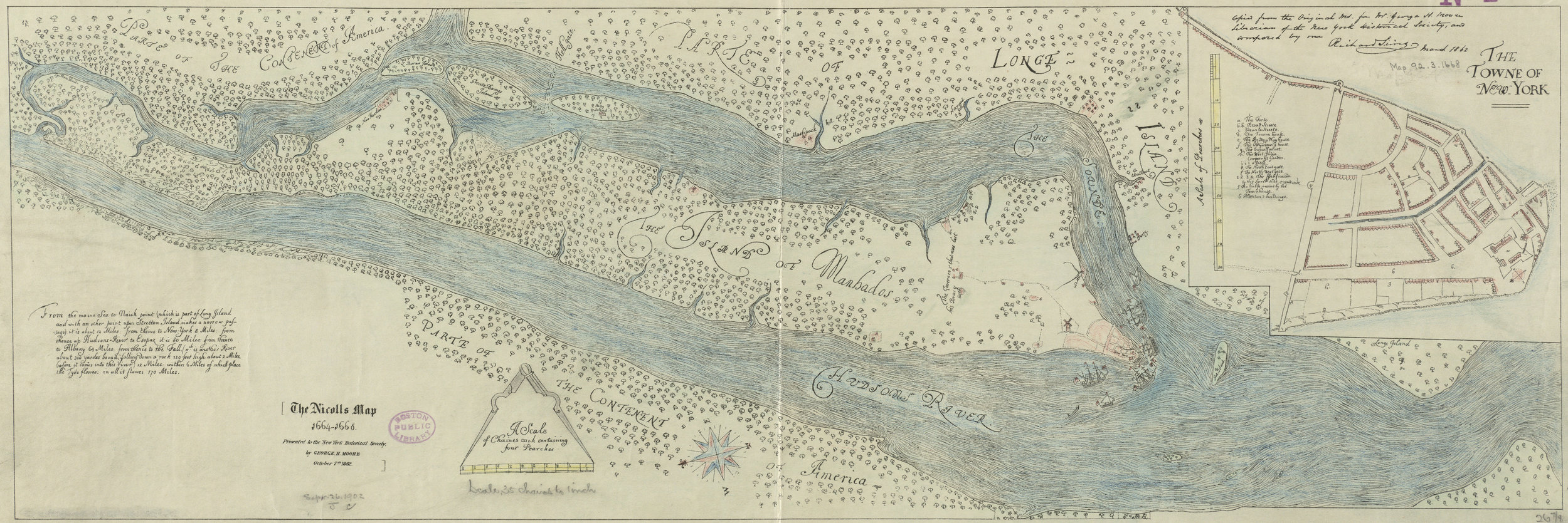 Named for the English admiral who took New Amsterdam, The Nicolls Map (ca. 1664-1668), is the first English survey of their new territory. It is often regarded as a crude map, but the English were not ones to disregard fortifications, and the map clearly shows only two small bastions left along the wall and no western wall. The original is in the British Library. This hand-colored reprint was made from a copy by George Henry Moore and Richard Sims in 1862, for the New York Historical Society. Courtesy  Boston Public Library .