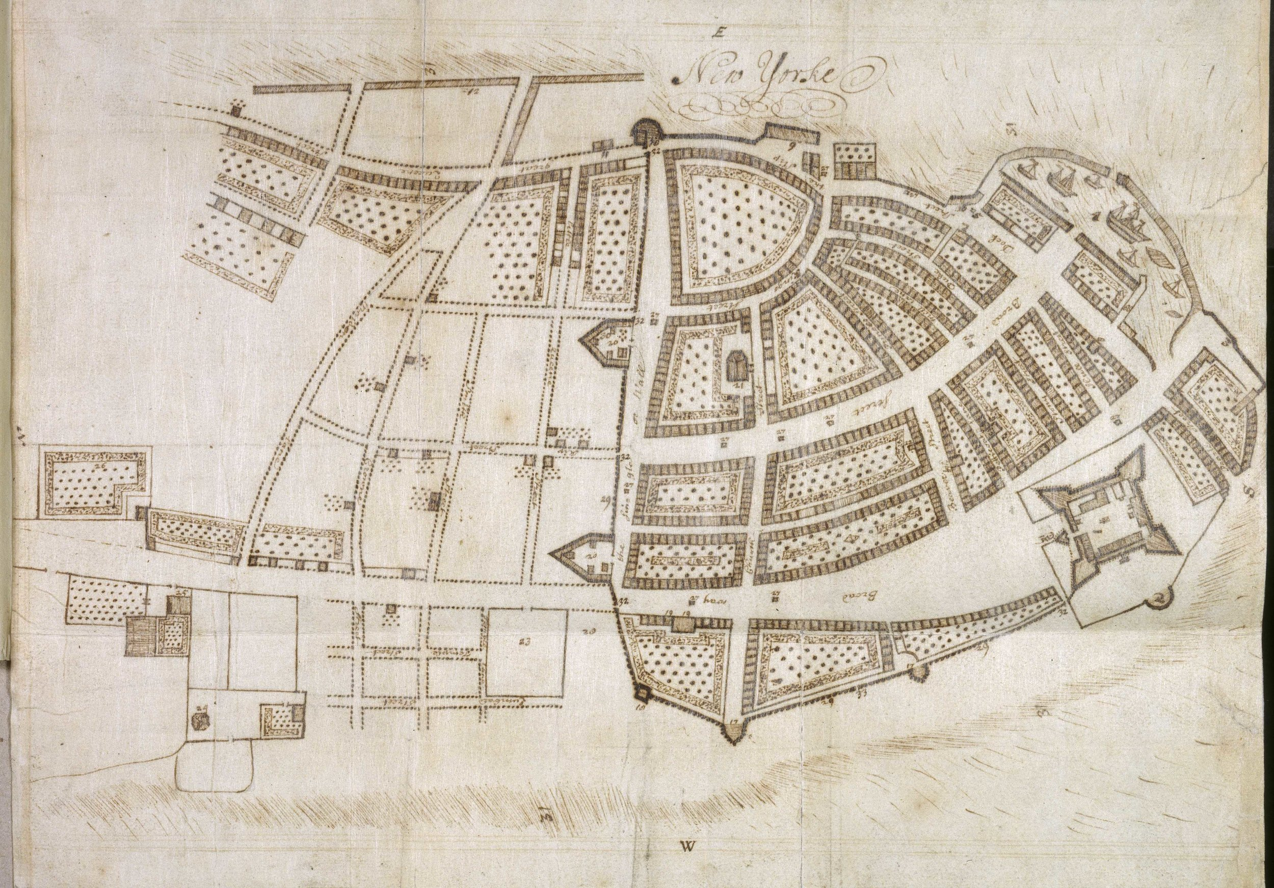 "The Miller Plan of 1695 is the last map to show the wall. It was made by John Miller, the chaplain of the fort from 1692-1695. He created a detailed description of the city and a map, but had to throw it all overboard when his ship was captured by the French. In prison, he recreated his map and writings, which were eventually published in 1843 as  New York Considered and Improved . He clearly describes ""On the North side are two large stone Points & therein about 8 Guns some mounted & some unmounted."" The point on the bottom of the map is the western bastion known as the Oyster Pasty Mount. Note the street along the Wall is ""The Single or Wall Street."" Map courtesy  The British Library ."