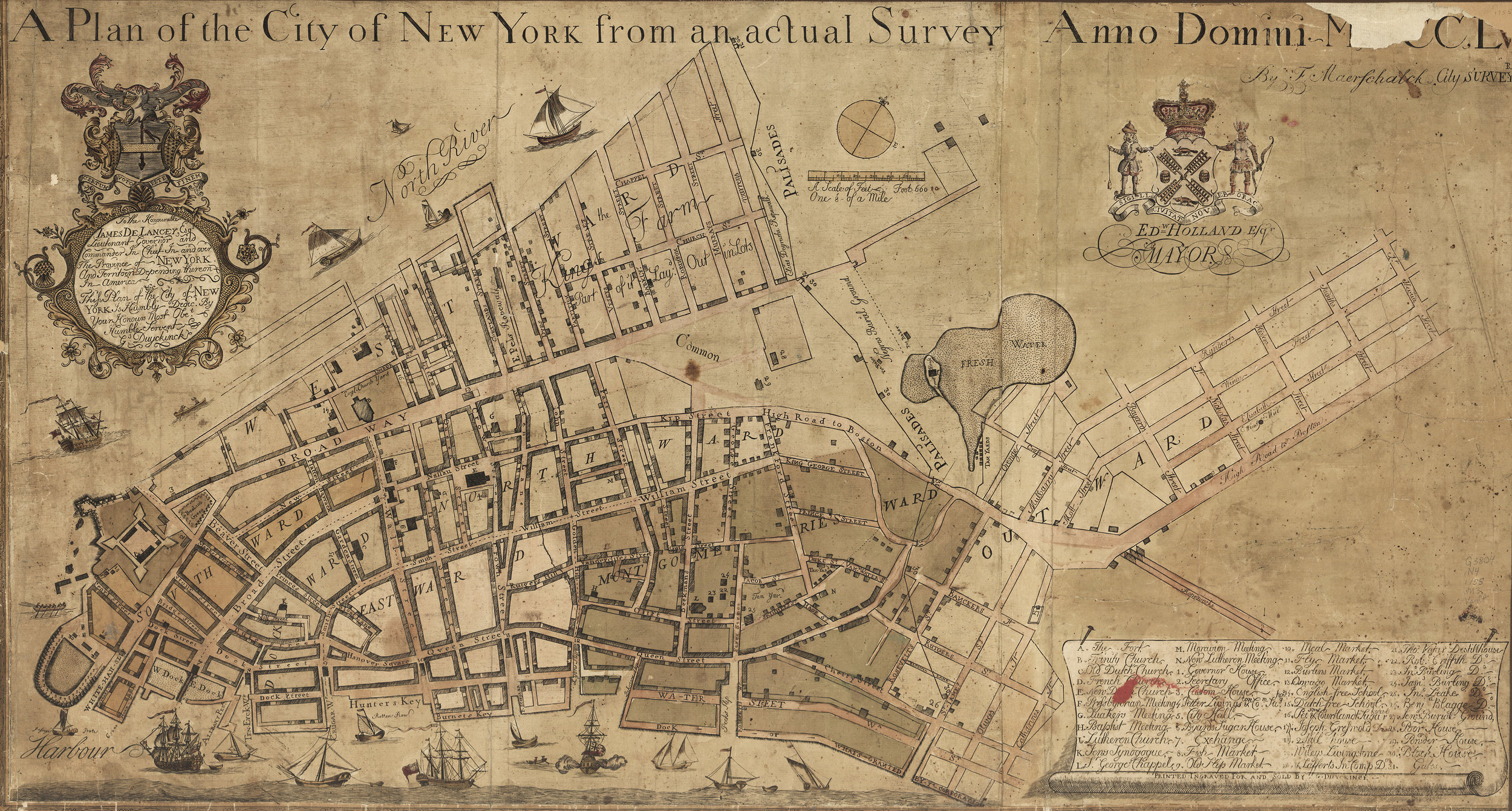 The Maerschalck Plan of 1754 shows the position of the new City Hall, along the old line of the wall, at the intersection of Broad Street (once the canal) and Wall Street. At the northern end of the city, roughly along what is now Chambers Street,is a new palisade wall. It was built to protect the English from the French in 1745, and lasted until 1763. Map courtesy  The Library of Congress .