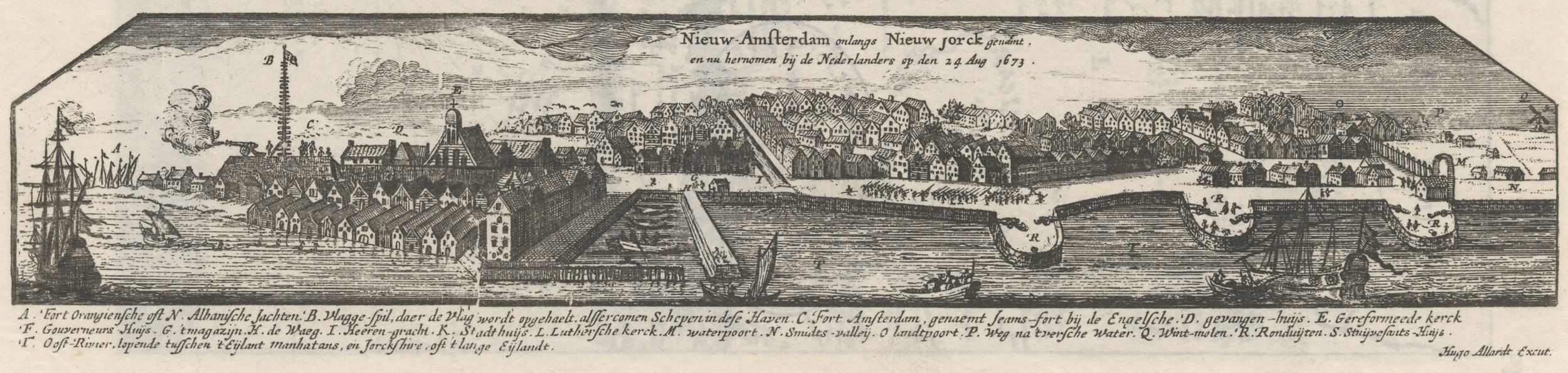 Copied from the Allard Map, a 1673 French survey of the New Netherlands, this illustration shows the Dutch recapturing New York. Stokes,  The Iconography of Manhattan Island , vol. I, pl. 8. NYC Municipal Library.