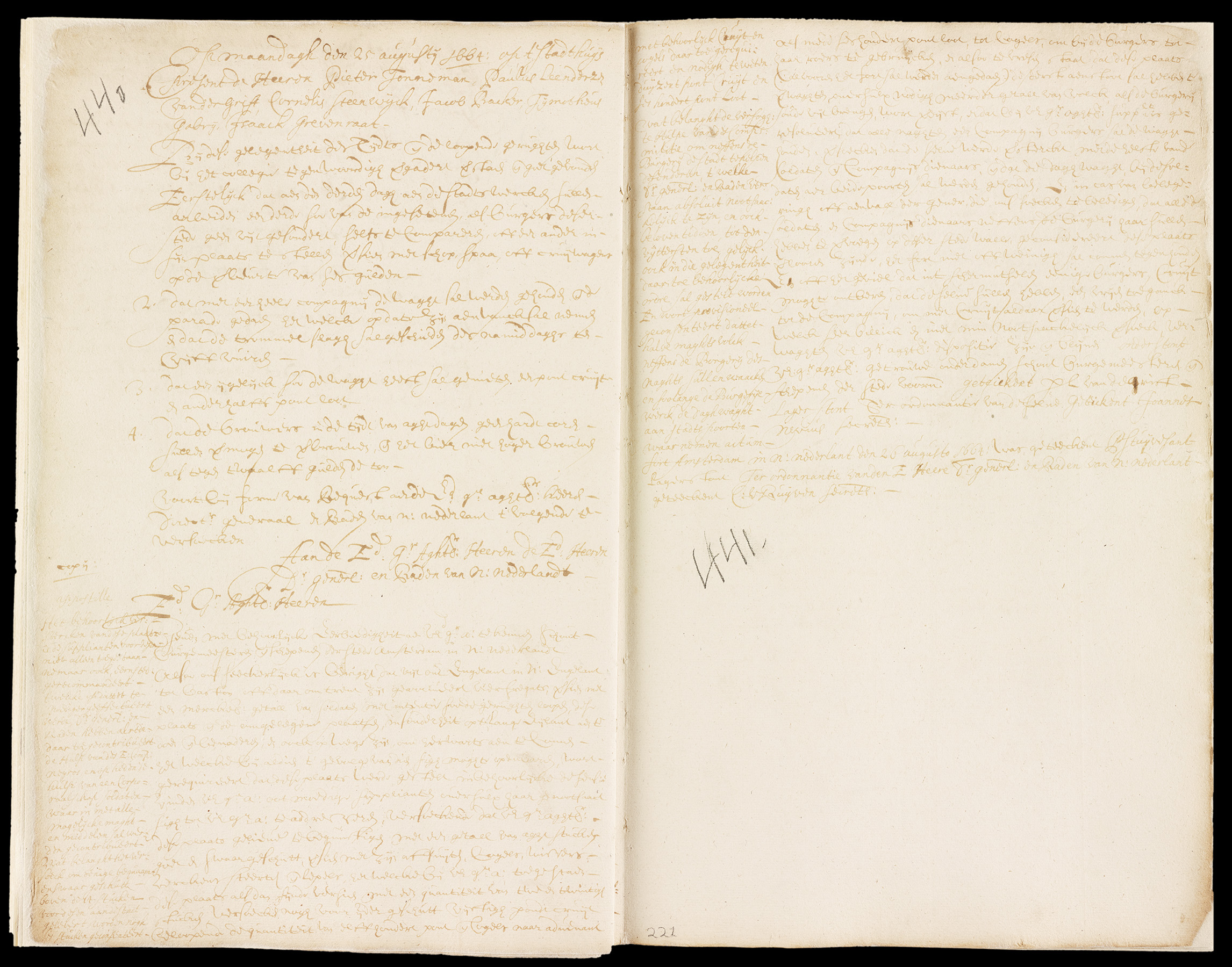 """The minutes from August 25th, 1664, the day the Burgomasters and Schepens were informed of the English fleet at Boston preparing to sail for New Amsterdam. The marginal Appostille is from General Stuyvesant, who concurred that """"The proper fortifying of this place is not only granted..., but also earnestly recommended."""" In a possibly apocryphal story, Stuyvesant was presented with an early draft of the articles of surrender on August 22nd, but no such event was recorded in the official record."""