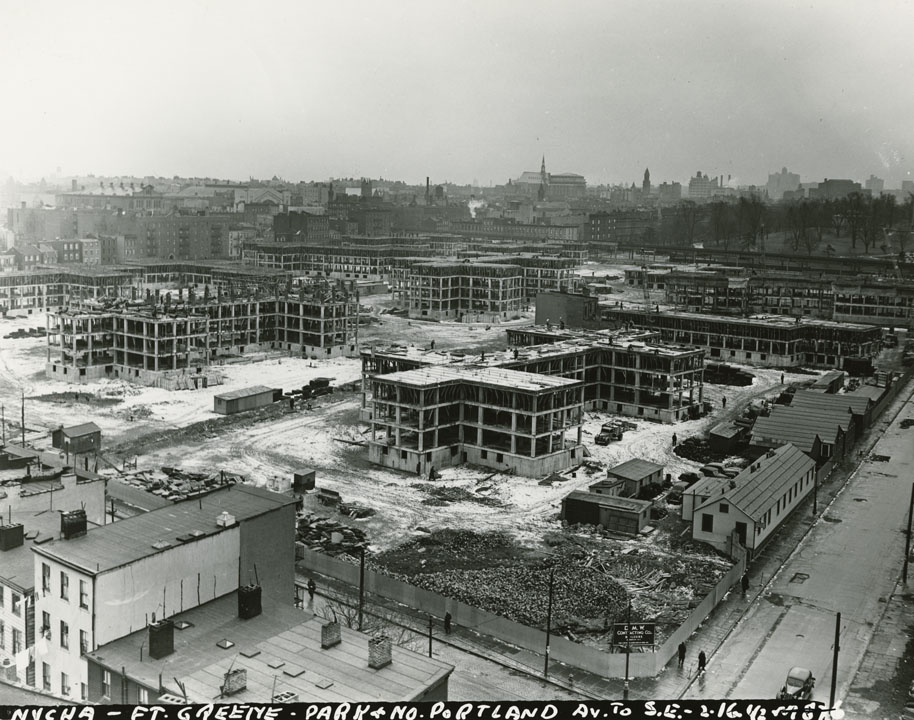 Fort Greene public housing under construction, Park Ave. and North Portland Ave., 1942. Mayor Fiorello H. LaGuardia collection, NYC Municipal Archives.