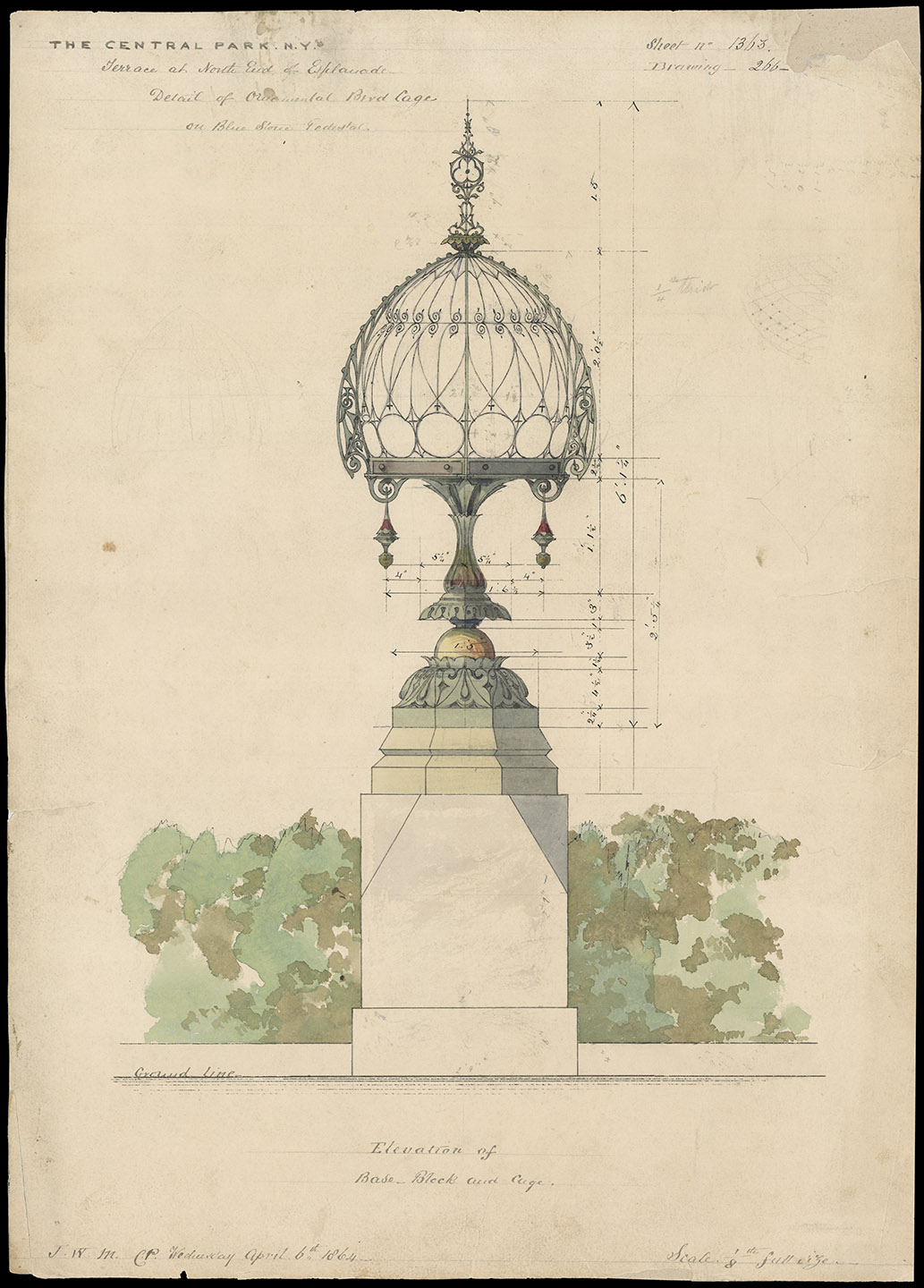Jacob Wrey Mould, Central Park drawing, 1864. Bethesda Terrace and Mall, Detail of Ornamental Bird Cage on Blue Stone Pedestal. Department of Parks and Recreation collection, New York City Municipal Archives.