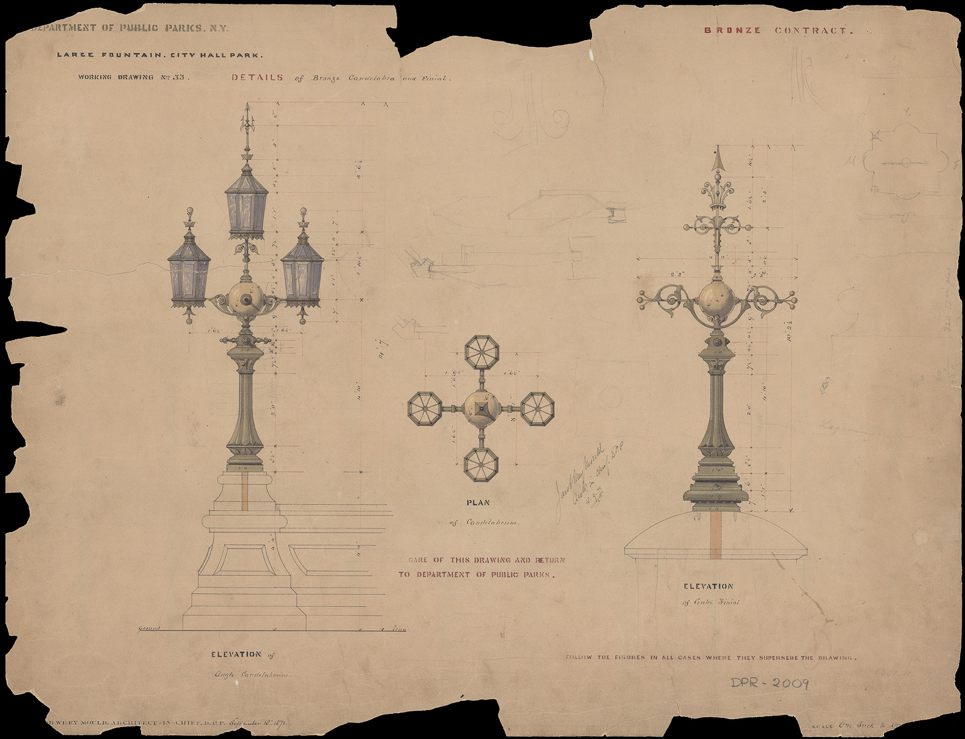 City Hall Park, 1871. Large fountain and details of bronze candelabra. Department of Parks and Recreation collection, New York City Municipal Archives.