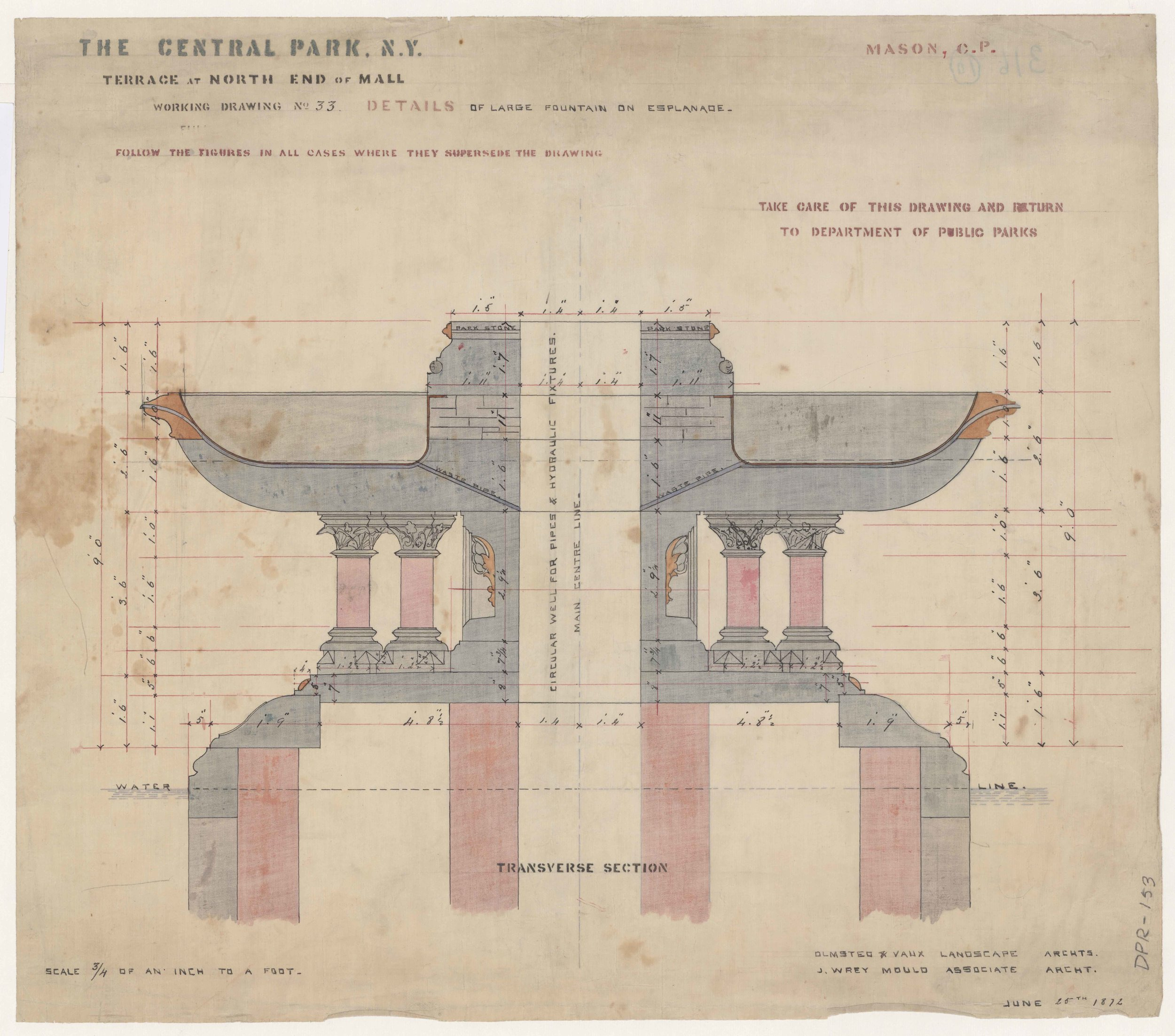 Jacob Wrey Mould, Central Park drawing, 1872. Fountains for Bethesda Terrace and Mall: Terrace at North End of Mall: Details of Large Fountain on Esplanade: Mason. Department of Parks and Recreation collection, New York City Municipal Archives.