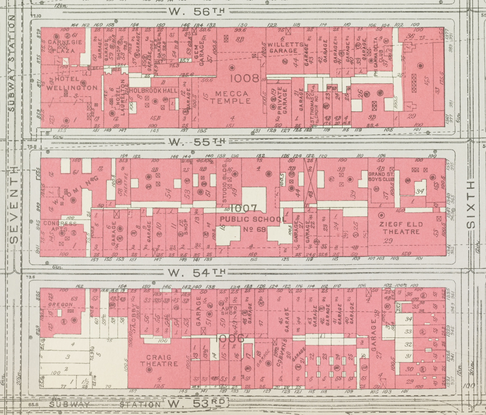 Detail, plate 83,  Manhattan Land Book, City of New York,  1934. NYC Municipal Archives.