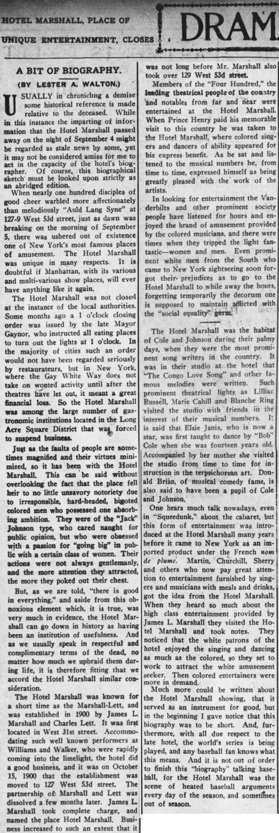 """Article : """"Hotel Marshall, Place of Entertainment, Closes"""" in  The New York Age , October 9, 1913. (Click to enlarge.)"""
