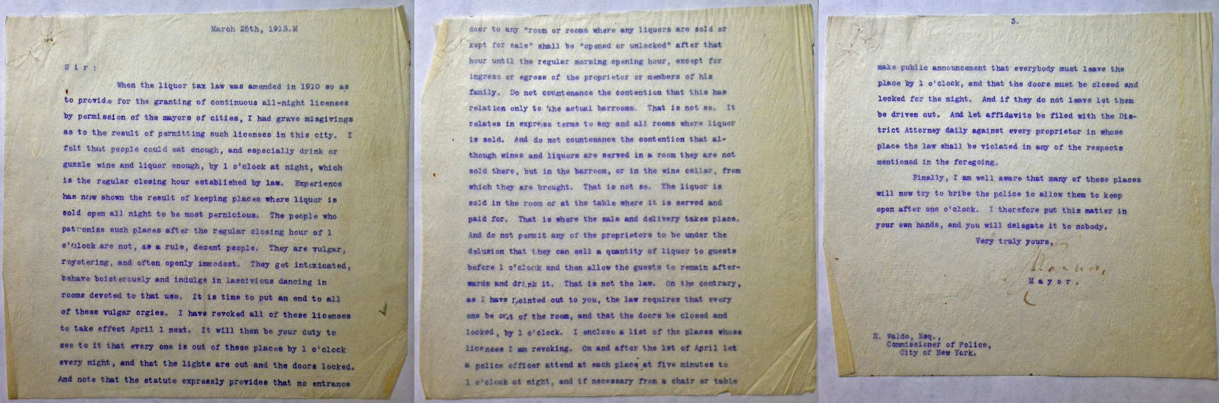 Carbon copy  of letter sent from Mayor Gayor to Police Commissioner Waldo, March 25, 1913. Mayor Gaynor collection, NYC Municipal Archives.