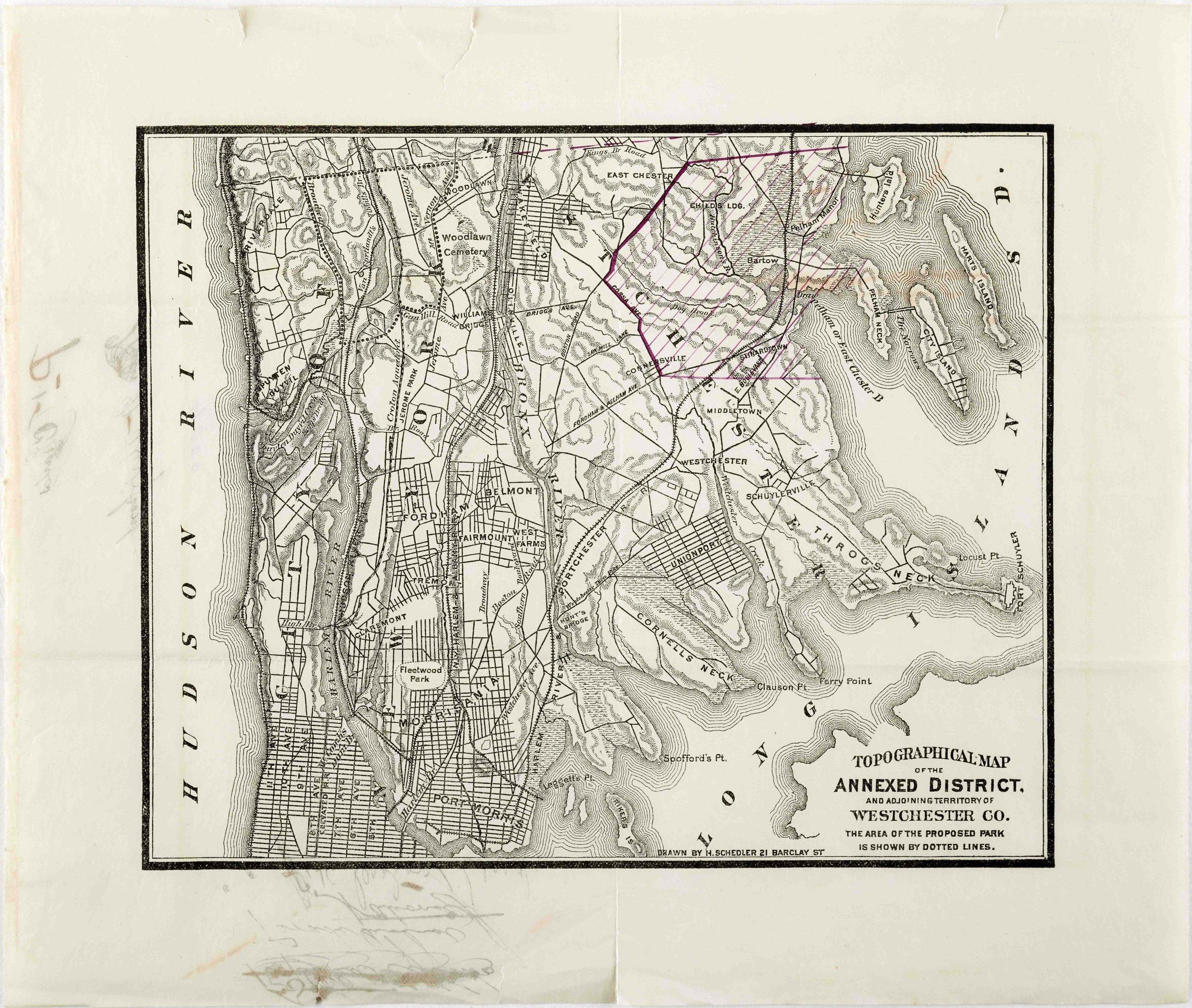 Proposition of Pelham Bay Park, Van Cortlandt Park and Bronx Park lands, 1882. Mayor William R. Grace Subject Files.